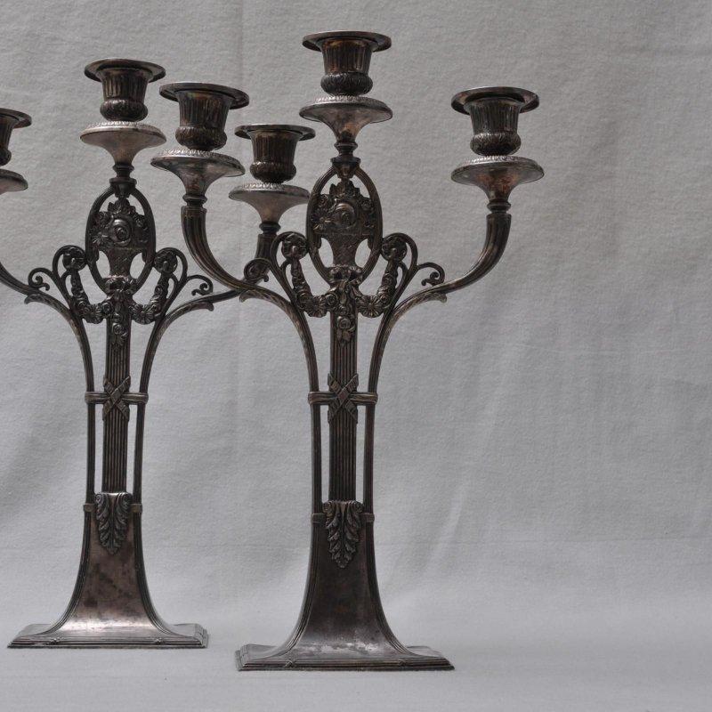 wmf leuchterpaar 2er set kandelaber 3 flammig h he 41. Black Bedroom Furniture Sets. Home Design Ideas