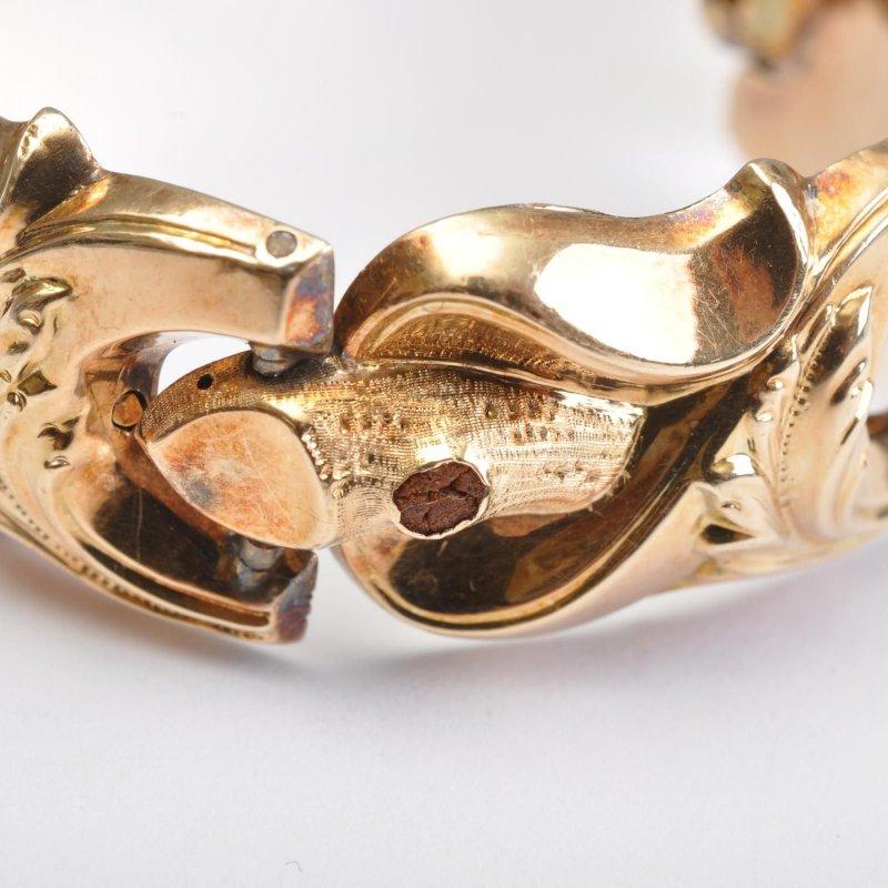 Und Blätterdekor Um 1850 Schaumgold Biedermeier Gold Armband Ast WDIeHYE29