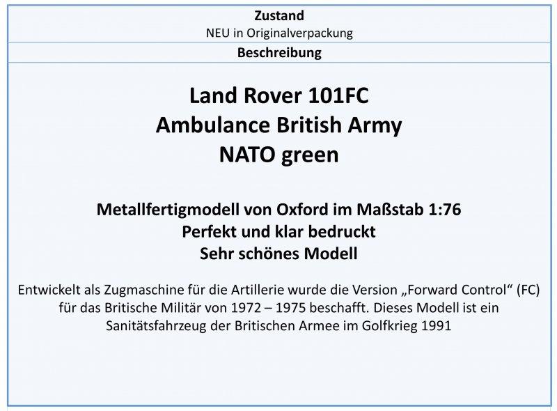 LRFCA002 Land Rover 101FC Ambuance NATO green,Oxford 1:76,NEU 7//2019 /&