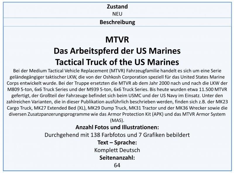 Tankograd 3031 MTVR Das Arbeitspferd der US-Marineinfanterie LKW-Modellbau