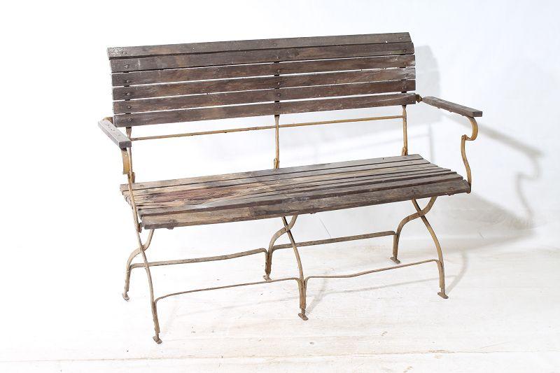 Antike Alte Bank Sitzbank Gartenbank Um 1920 Metall Holz Klappbar