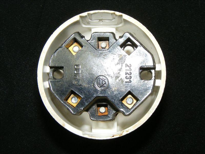 Alter Bakelit Schalter Aufputz Taster Licht AP Klingel Art Deco Loft rund weiß