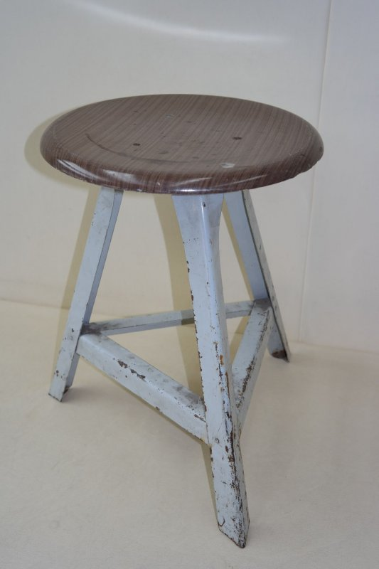Old Garage Stool Designer Stool Wood Metal Vintage Bar Stool Art