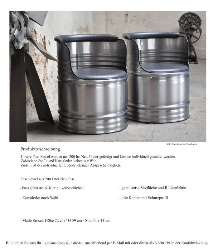 Details zu Fass Sessel Stuhl aus 200 Liter Fass Oelfass Metallfass  Industrie gebürstet