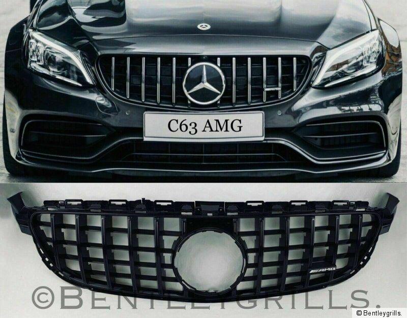 Mercedes W205 C Class Amg 63 Grill Gt Panamericana Full Gloss Black C63 Only Ebay