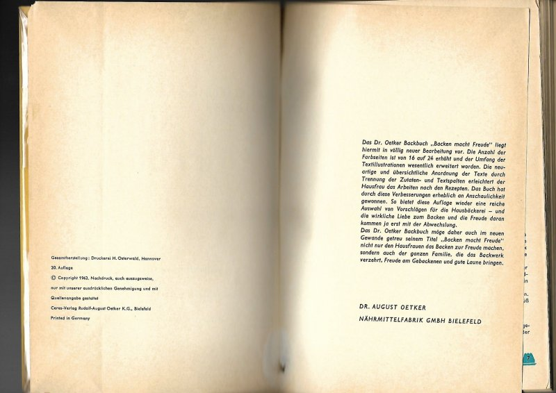 Backen macht Freude Dr. Oetker Backbuch 20. Auflage 1962 auf 190 ...
