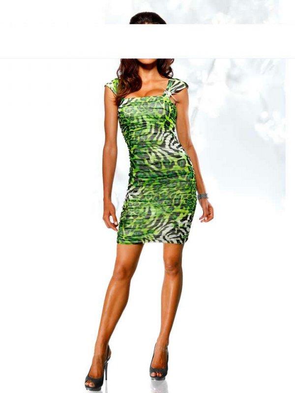 Heine Kleid 38 40 42 grün schwarz Abendkleid im Animal-Look NEU   eBay