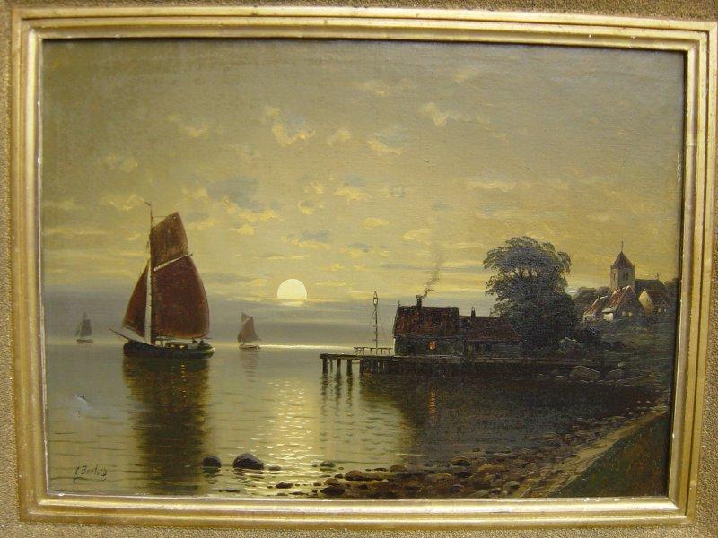 Carl bertold 1870 d sseldorf m nchen schiffe vor einer k ste im mondschein ebay - Dusseldorf bilder auf leinwand ...
