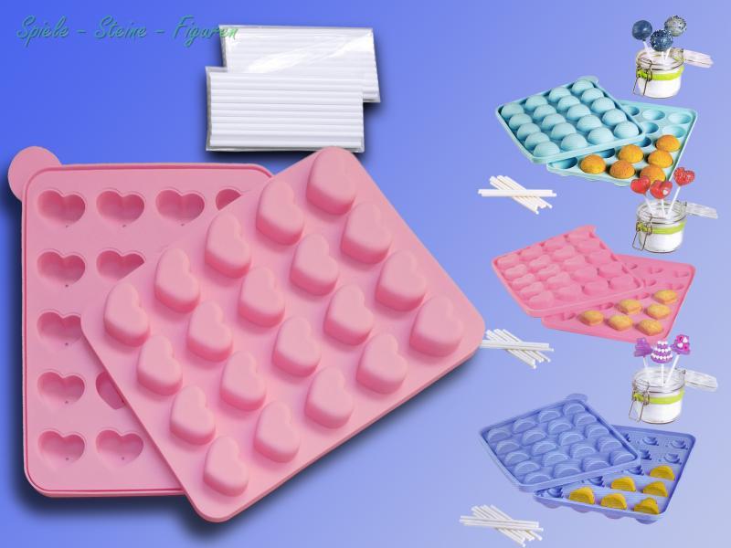 cake pop backform inkl stiele platin silikon form cupcake cake pops lollipop ebay. Black Bedroom Furniture Sets. Home Design Ideas
