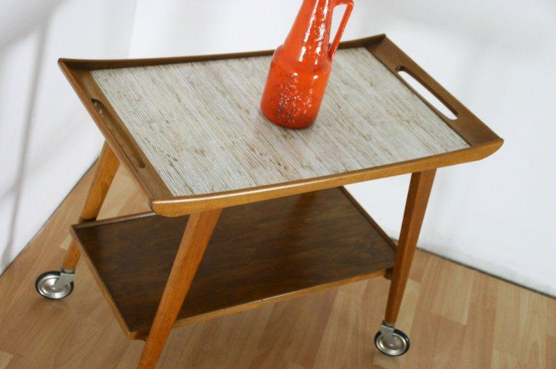 60er jahre opal servier wagen dinett vintage danish optik tisch table bar troley ebay. Black Bedroom Furniture Sets. Home Design Ideas