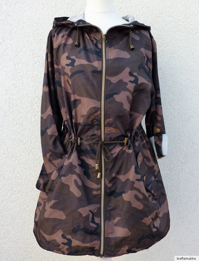 new ladies rain jacket camouflage parka festival jacket hood coat khaki primark ebay. Black Bedroom Furniture Sets. Home Design Ideas