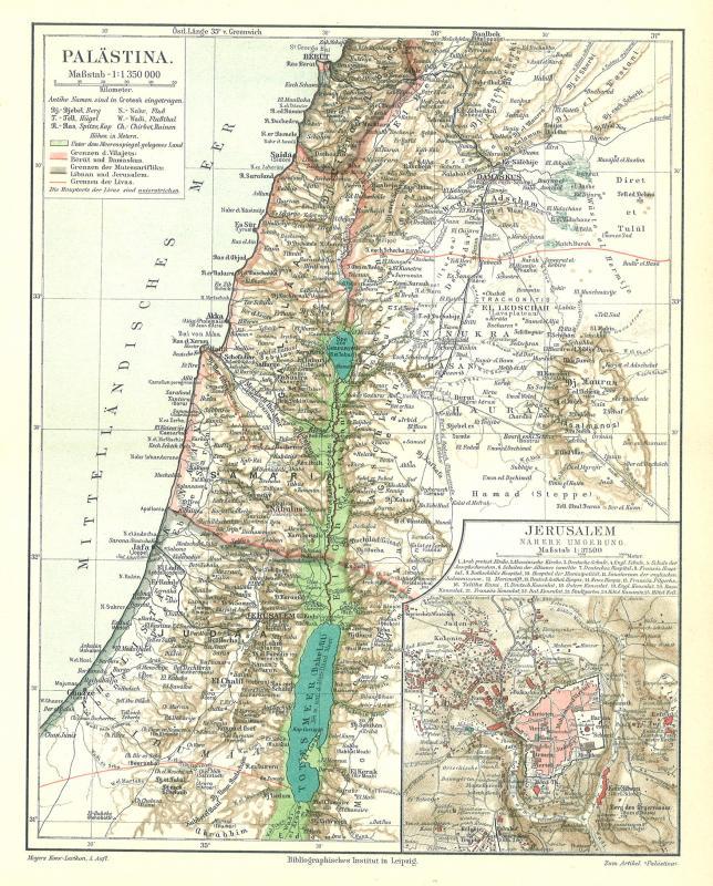 Palästina Karte Lithographie 1896 alte historische Landkarte