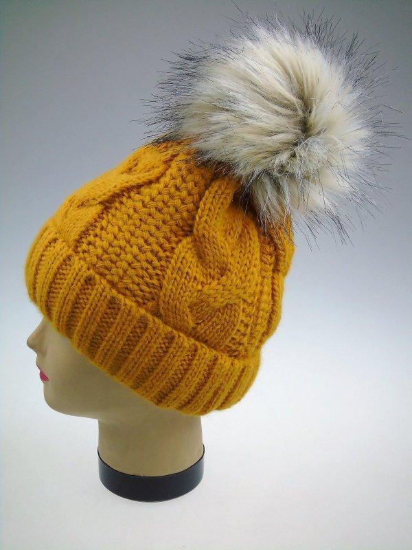 Grobstrick Damen Winter Mütze mit Kunstfellbommel und Fleecefutter Wintermütze