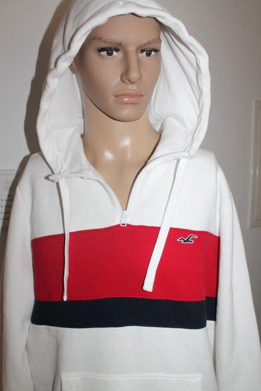 Détails sur Hollister Homme Pull Pull à Capuche avec Capuche Blanc Bleu Rouge Taille XL Neuf