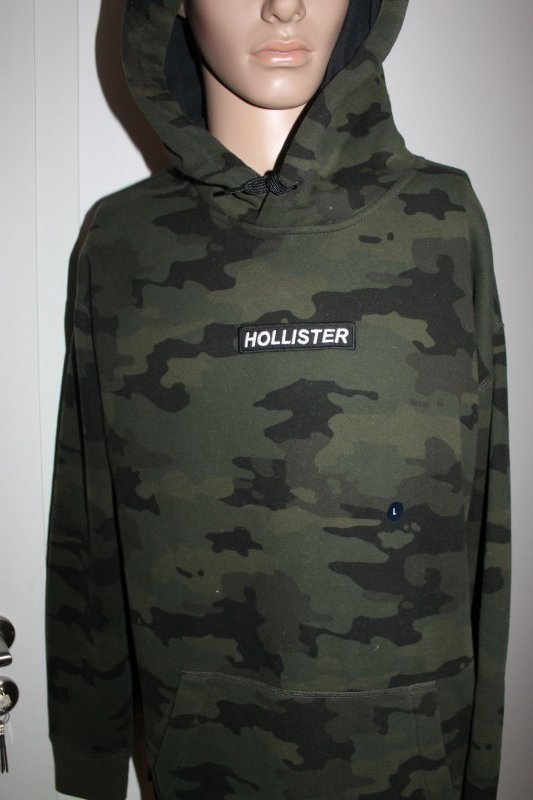 Details zu Hollister Herren Sweater Hoodie mit Kapuze Camouflage Grün Größe L Neu