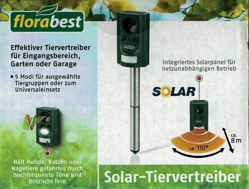 PIR Ultraschall Solar Tiervertreiber Animal Repeller Garten Nagetiere Abwehr DE