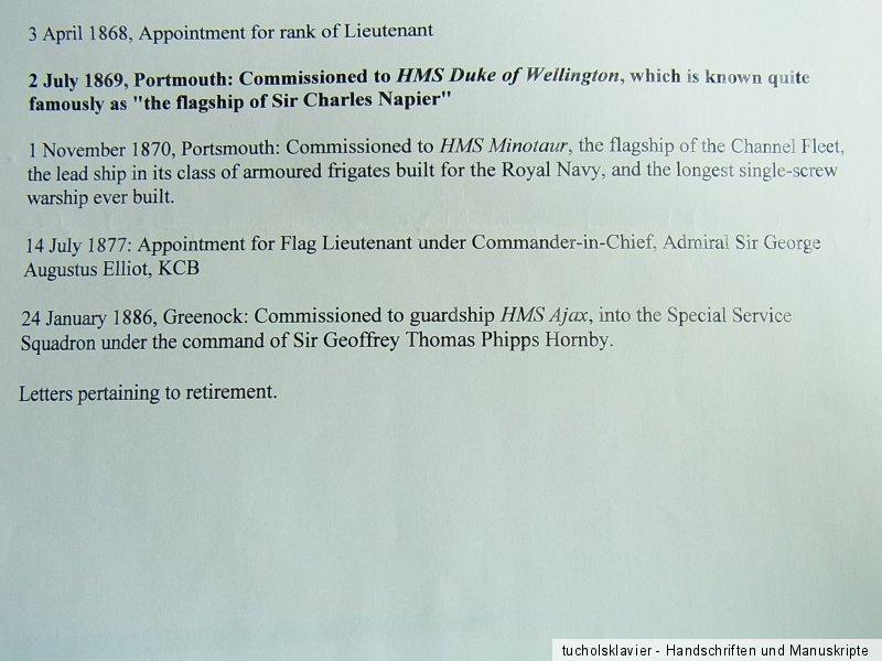 28 bound signed documents 1860-1891 // ROYAL NAVY Career H.C.J.G. ...