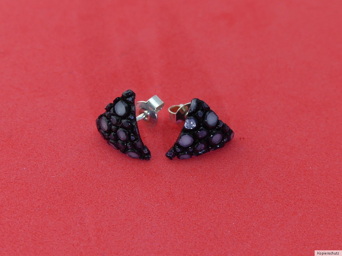 118 Rochenleder Ohrringe Schwarz 22mm Durchmesser