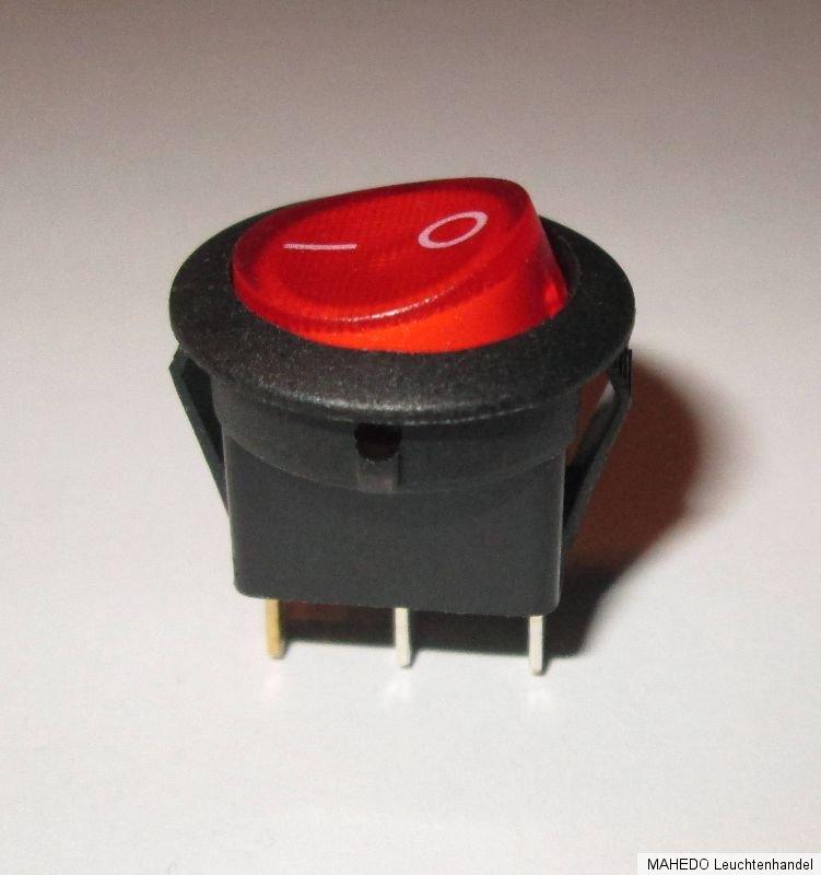 Wippenschalter rund beleuchtet EIN AUS 1polig 230V 6,5A Einbauschalter