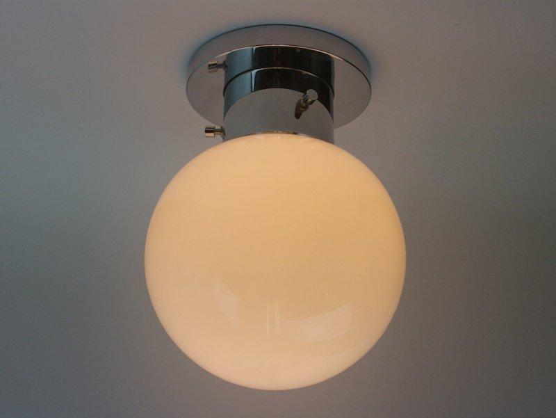 "Pretty vtg chrome 1 of 5 7.9/"" white glass globe Ceiling- or Wall Lights"