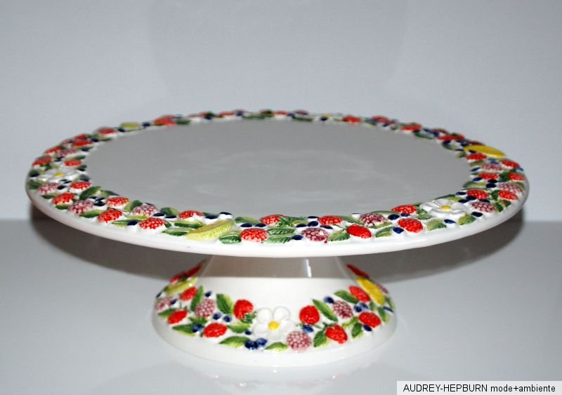 bassano keramik tortenplatte auf fu 39 cm waldfr chte mediterranes geschirr ebay. Black Bedroom Furniture Sets. Home Design Ideas