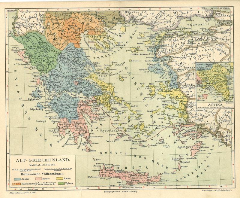 landkarte alt Alte historische Landkarte 1890: Alt Griechenland Kreta Attika  landkarte alt