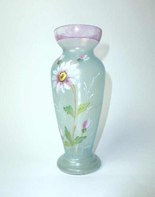 Glass Vase Bohemia Um 1920 Emaillefarben B 112 Ebay